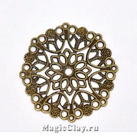 Филигрань Цветок Сказочный 35мм, цвет бронза, 5шт