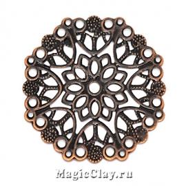 Филигрань Цветок Сказочный 35мм, цвет медь, 5шт
