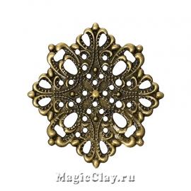 Филигрань Цветочный Мотив 44мм, цвет бронза, 5шт