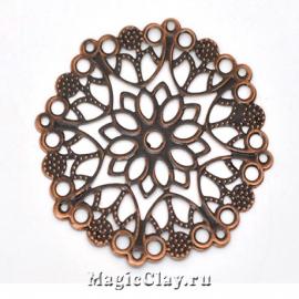 Филигрань Цветок Сказочный 50мм, цвет медь, 1шт
