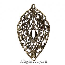 Филигрань Венский Вальс 56х36мм, цвет античная бронза, 5шт
