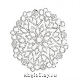 Филигрань Цветок Сказочный 50мм, цвет серебро, 1шт