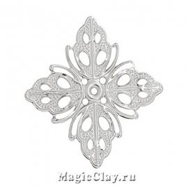 Филигрань Цветок Огненный 25х25мм, цвет серебро, 5шт