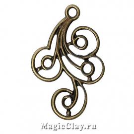 Филигрань Завиток 31х22мм, цвет античная бронза, 5шт