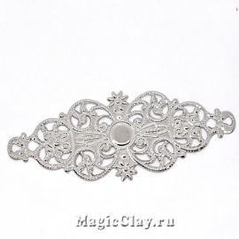 Филигрань Романтика 61х24мм, цвет серебро, 5шт