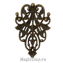 Филигрань Лесная Царица 48х35мм, цвет античная бронза, 5шт