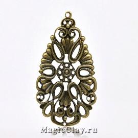 Филигрань Валенсия 48х28мм, цвет античная бронза, 5шт