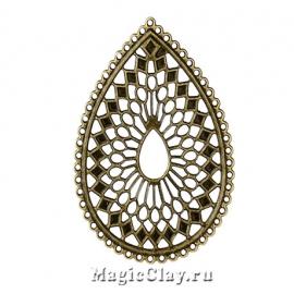 Филигрань Капля Паутинка 68х50мм, цвет античная бронза, 1шт