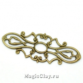 Филигрань Галатея 38х15мм, цвет античная бронза, 10шт