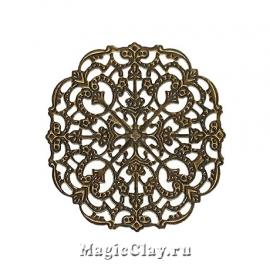 Филигрань Узоры Зимы 56мм, цвет бронза, 5шт