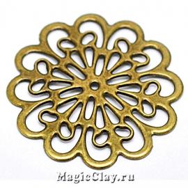 Филигрань Цветочная Элегия 60мм, цвет античная бронза, 1шт