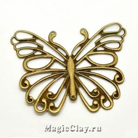 Филигрань Бабочка Ажурная 66х50мм, античная бронза, 1шт