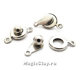 Замок Застежка 12х9мм, цвет серебро стальное, 10шт