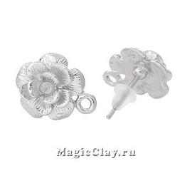 Пуссеты Роза, цвет серебро стальное