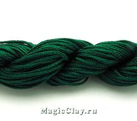 Шнур нейлоновый для Шамбалы 1мм Зеленый Темный, 1 моток