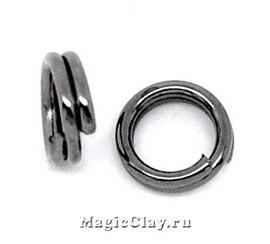 Колечки двойные, цвет черная сталь 4мм, 1уп (~200шт)