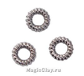 Колечки рифленые спаянные, цвет черная сталь 5мм, 50шт