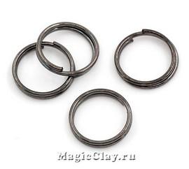 Колечки двойные, цвет черная сталь 10мм, 1уп (~100шт)