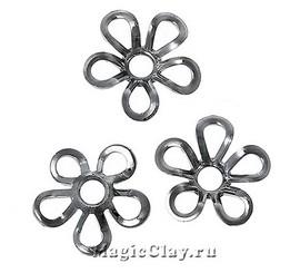 Шапочка для бусины Изящный Цветок 9мм, цвет черная сталь, 10шт