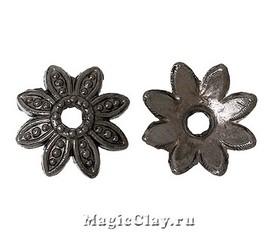 Шапочка для бусины Нежный Цветочек  7мм, цвет черная сталь, 30шт