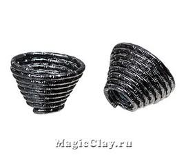 Шапочка для бусины Спираль 15х10мм, цвет черная сталь, 1шт