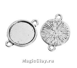 Коннектор-Основа Круг 14мм, цвет серебро, 5шт