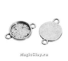 Коннектор-Основа Круг 17мм, цвет серебро, 1шт