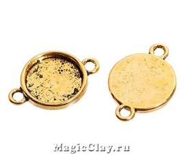 Коннектор-Основа Круг 17мм, цвет золото, 1шт