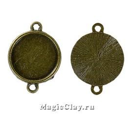 Коннектор-Основа Круг 19мм, цвет античная бронза, 1шт