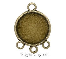 Коннектор-Основа Трио 28х20мм, цвет античная бронза, 1шт