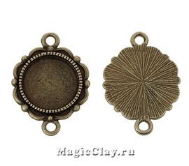 Коннектор-Основа Цветок 27х19мм, цвет античная бронза, 1шт