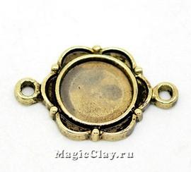 Коннектор-Основа Сатира 23х15мм, цвет античная бронза, 1шт