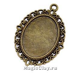 Основа для кулона Сирена 39х29мм, цвет античная бронза, 1шт