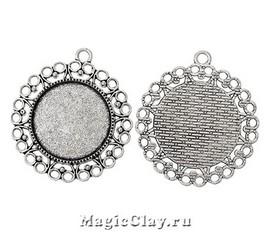 Основа для кулона Круги 43х39мм, цвет серебро, 1шт