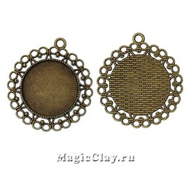 Основа для кулона Круги 43х39мм, цвет античная бронза, 1шт