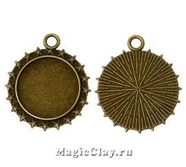 Основа для кулона Звезды 41х35мм, цвет античная бронза, 1шт