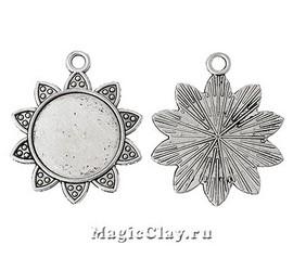Основа для кулона Лучистое Солнце 45х37мм, цвет серебро, 1шт