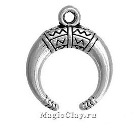 Подвеска Рог Малый, цвет серебро, 5 шт