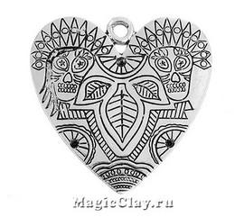 Подвеска Сердце, цвет серебро