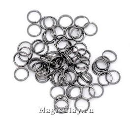 Колечки двойные, цвет черная сталь 7мм, 1уп (~200шт)