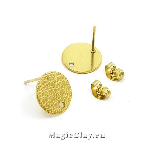 Швензы гвоздики Круг с текстурой 12мм, сталь, золото, 1пара