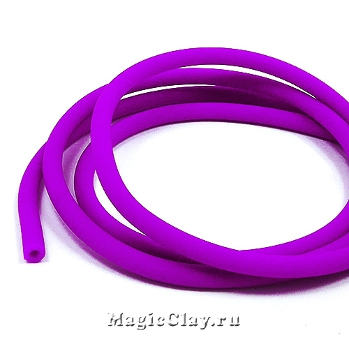 Шнур резиновый 4мм полый Фиолет, 2метра