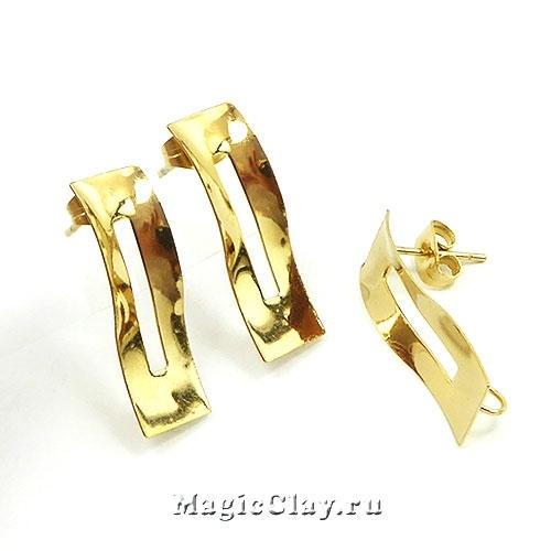 Швензы Геометрия Волна 25х8мм, сталь золото, 1пара