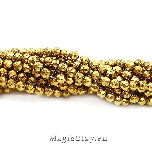 Бусины Гематит Граненые 3мм, цвет золото, 1нить (~126шт)