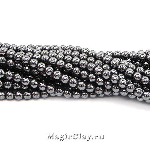 Бусины Гематит 3мм, цвет черный, 1нить (~120шт)