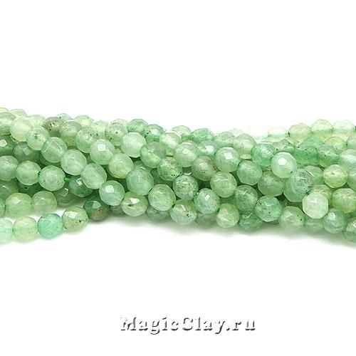 Авантюрин натурал. Зеленый граненый 4мм, 1нить (~90шт)