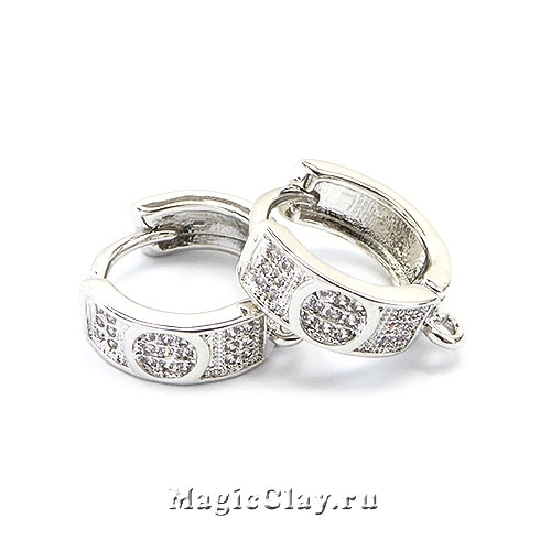 Швензы Кольцо Магия 14х5мм, родий/платина, 1пара
