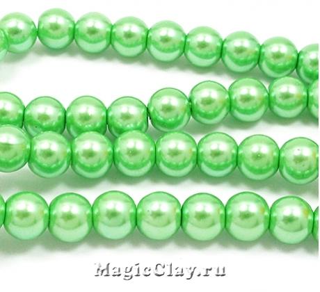 Бусины перламутр Зелёная Листва 6мм, 1нить (~70шт)