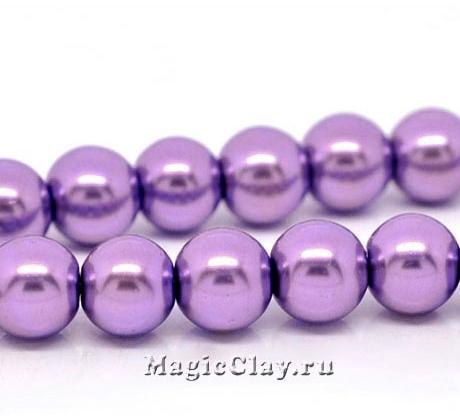 Бусины перламутр Фиолетовый Цветок 10мм, 1нить (~40шт)