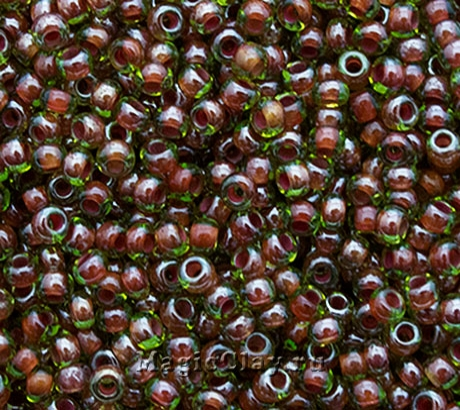 Бисер чешский 10/0 Прозрачный, 51128 Red Lined Green, 41гр